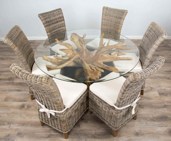 1.5m Reclaimed Teak Root Circular Dining Table with 6 Latifa Chairs