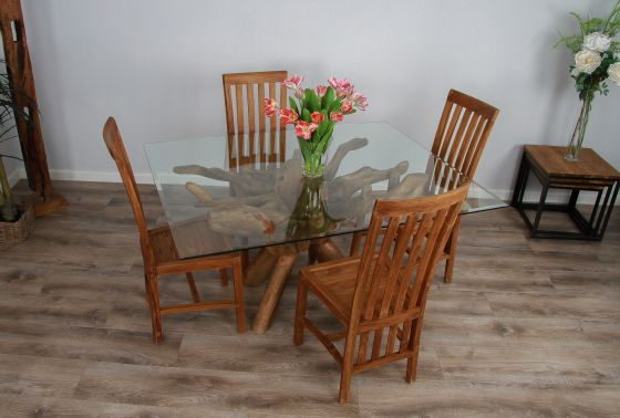 1.5m x 1.2m Reclaimed Teak Root Rectangular Dining Table with 4 or 6 Santos Chairs