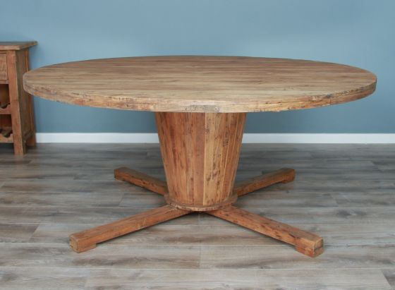 1.8m Reclaimed Teak Circular Character Dining Table