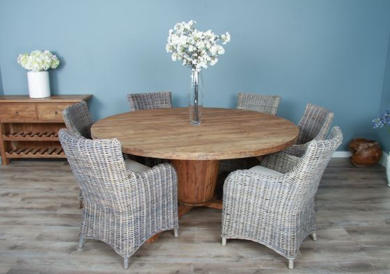 1.8m Reclaimed Teak Circular Character Dining Table with 6 or 8 Donna Chairs