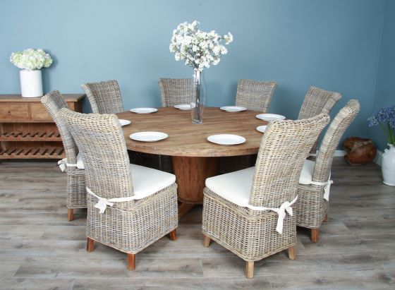 1.8m Reclaimed Teak Circular Character Dining Table with 8 or 10 Latifa Chairs