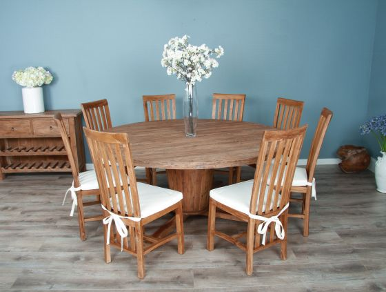 1.8m Reclaimed Teak Circular Character Dining Table with 8 or 10 Santos Chairs