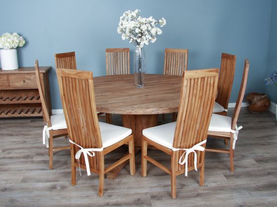 1.8m Reclaimed Teak Circular Character Dining Table with 8 or 10 Vikka Chairs