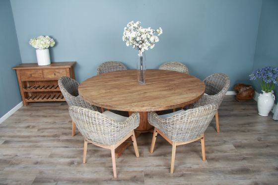 1.8m Reclaimed Teak Circular Character Dining Table with 6 Scandi Armchairs