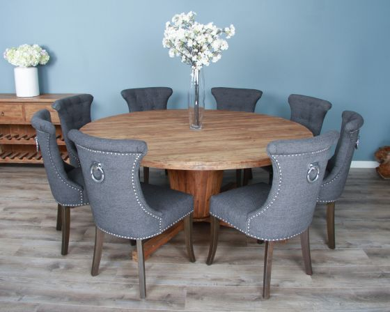 1.8m Reclaimed Teak Circular Character Dining Table with 8 Windsor Ring Back Chairs