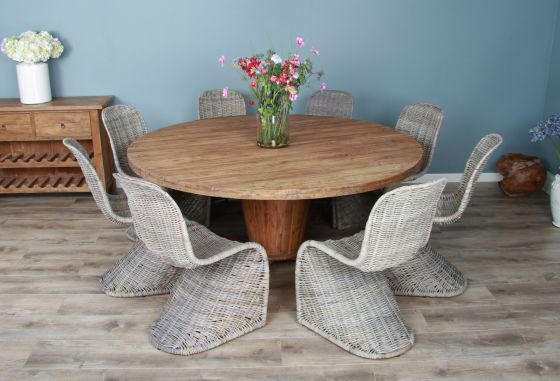 1.8m Reclaimed Teak Circular Character Dining Table with 8 Stackable Zorro Chairs