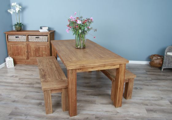 1.8m Reclaimed Teak Taplock Dining Table with 2 Dining Benches