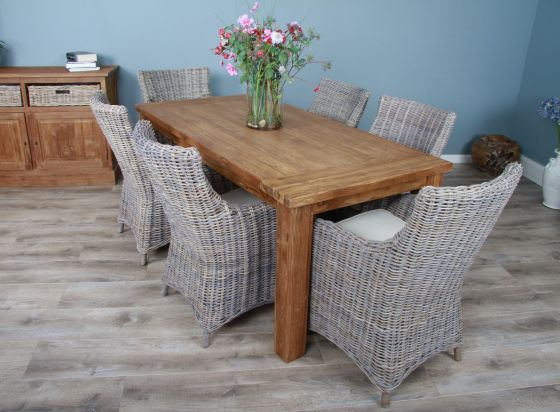 1.8m Reclaimed Teak Taplock Dining Table with 6 Donna Chairs