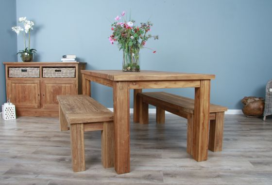 2m Reclaimed Teak Taplock Dining Table with 2 Dining Benches
