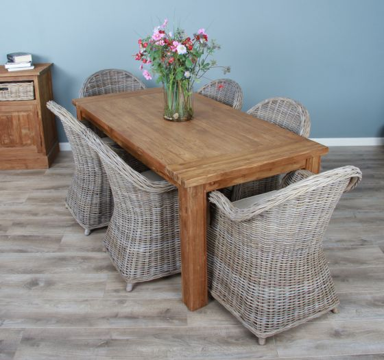 1.8m Reclaimed Teak Taplock Dining Table with 6 Riviera Chairs