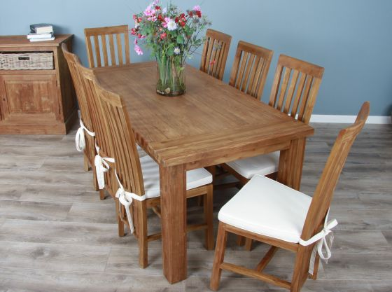 1.8m Reclaimed Teak Taplock Dining Table with 6 or 8 Santos Chairs