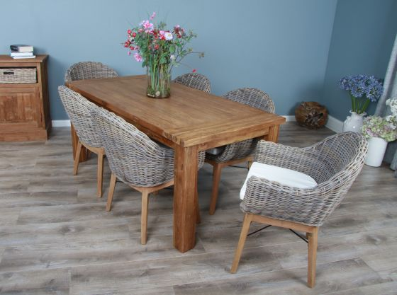 1.8m Reclaimed Teak Taplock Dining Table with 6 Scandi Armchairs