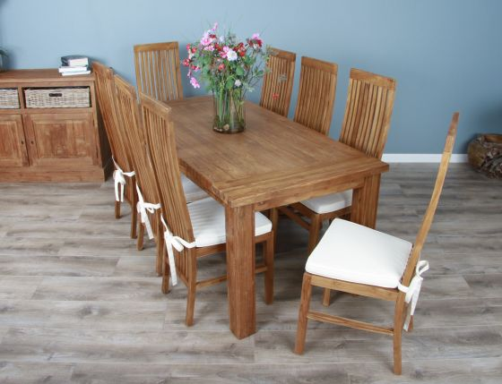 1.8m Reclaimed Teak Taplock Dining Table with 6 or 8 Vikka Chairs