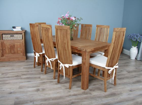 2m Reclaimed Teak Taplock Dining Table with 8 Vikka Chairs