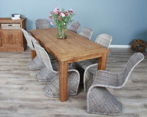 1.8m Reclaimed Teak Taplock Dining Table with 8 Stackable Zorro Chairs