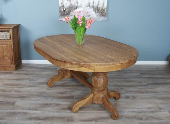 1.8m Reclaimed Teak Oval Pedestal Dining Table