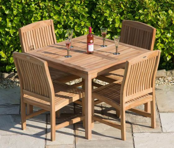 1m Teak Square Fixed Table with 4 Marley Chairs - With or Without Arms