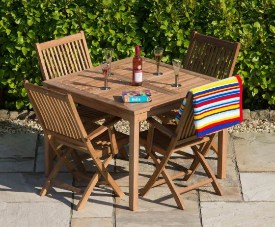 1m Teak Square Fixed Table with 4 Kiffa Folding Armchairs