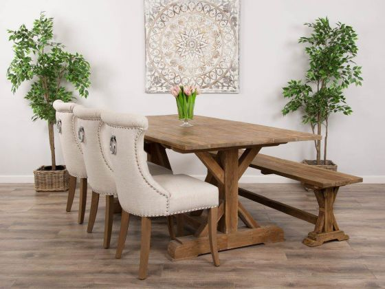 2m Reclaimed Teak Dinklik Table With One Bench and Three Natural Windsor Ring Back Dining Chairs