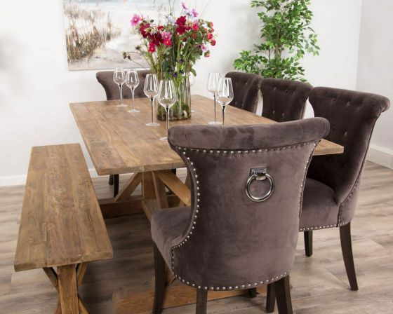 2m Reclaimed Teak Dinklik Table with One Bench and Five Velveteen Ring Back Dining Chairs