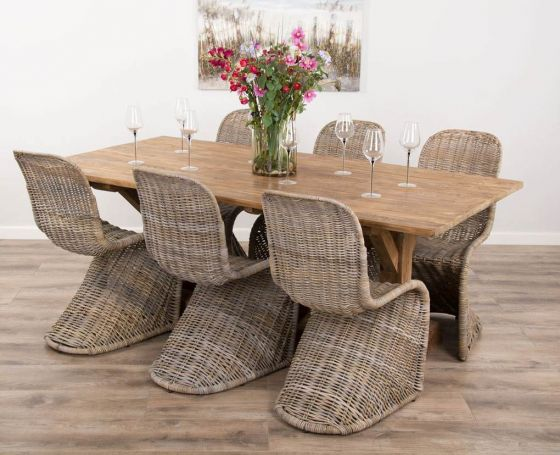 2m Reclaimed Teak Dinklik Table with Six Stacking Kubu Zorro Dining Chairs
