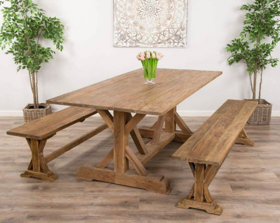 2m Reclaimed Teak Dinklik Table With Two Backless Benches