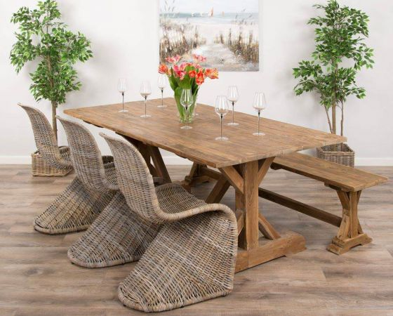 2m Reclaimed Teak Dinklik Table With One Bench and Three Kubu Wicker Zorro Dining Chairs