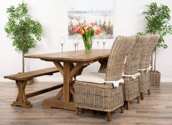2m Reclaimed Teak Dinklik Table With One Bench and Three Kubu Wicker Latifa Dining Chairs