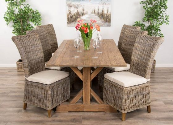 2m Reclaimed Teak Dinklik Table with Six Latifa Dining Chairs