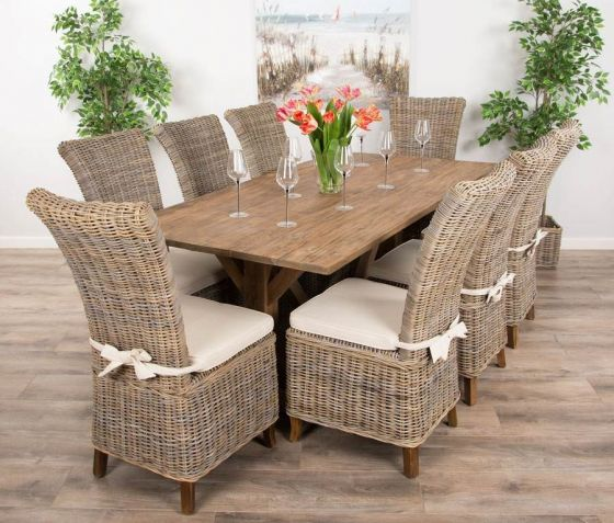 2m Reclaimed Teak Dinklik Table with Eight Kubu Wicker Latifa Dining Chairs