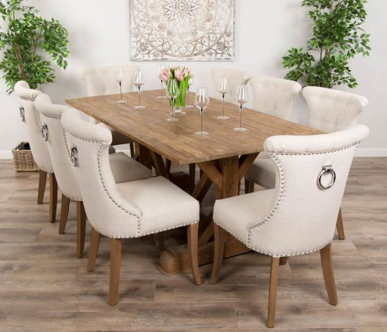 2m Reclaimed Teak Dinklik Table with Eight Natural Windsor Ring Back Dining Chairs