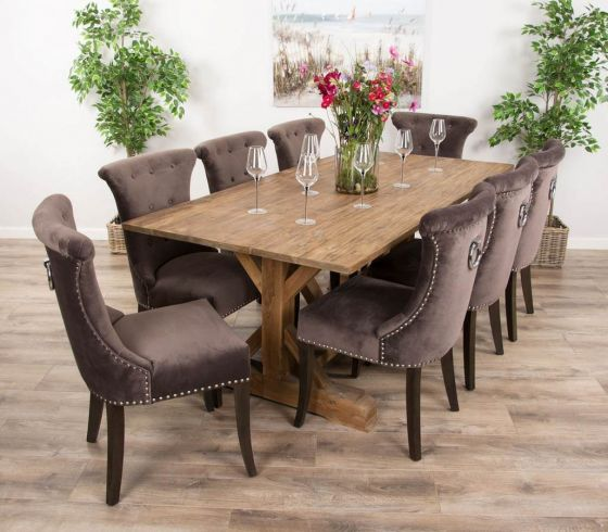 2m Reclaimed Teak Dinklik Table with Eight Velveteen Ring Back Dining Chairs