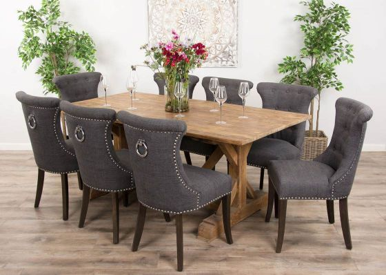 2m Reclaimed Teak Dinklik Table with Eight Dove Grey Windsor Ring Back Dining Chairs