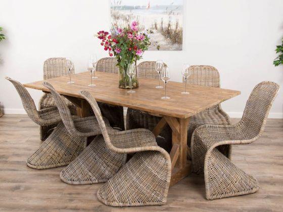 2m Reclaimed Teak Dinklik Table with Eight Zorro Kubu Wicker Dining Chairs