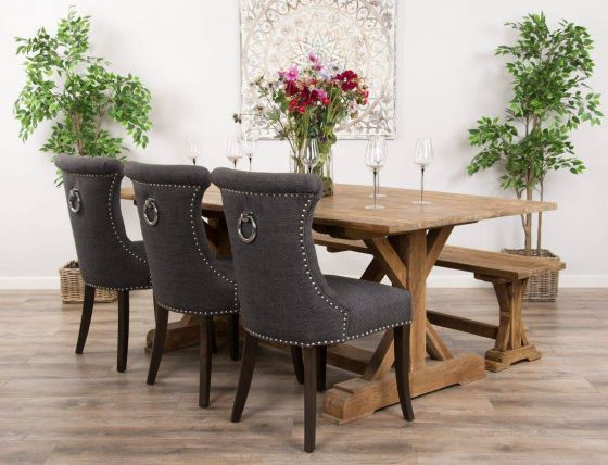 2m Reclaimed Teak Dinklik Table With One Bench and Three Grey Windsor Ring Back Dining Chairs