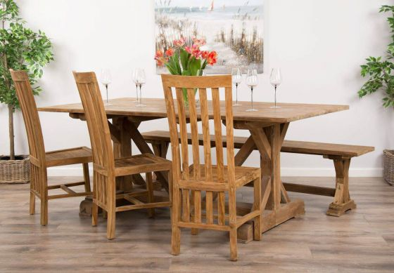 2m Reclaimed Teak Dinklik Table With One Bench and Three Teak Santos Dining Chairs