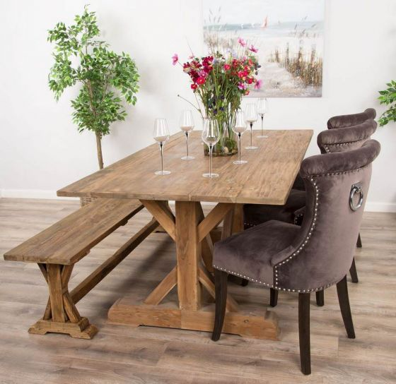 2m Reclaimed Teak Dinklik Table With One Bench and Three Velvet Windsor Ring Back Dining Chairs