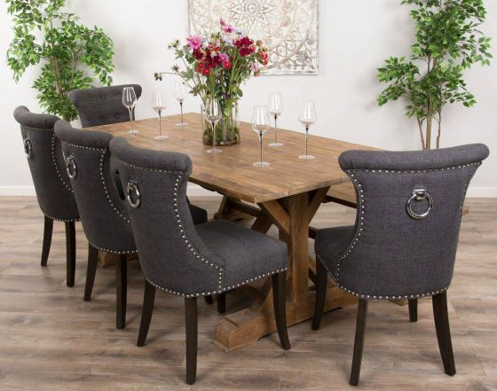2m Reclaimed Teak Dinklik Table With One Bench and Five Grey Windsor Ring Back Dining Chairs