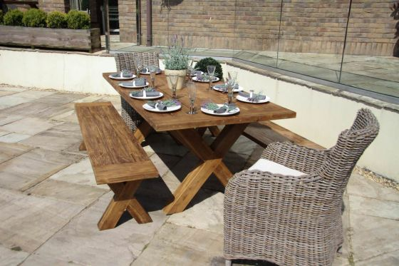 2m Reclaimed Teak Cross Leg Outdoor Dining Table with 2 Backless Benches and 2 Donna Armchairs