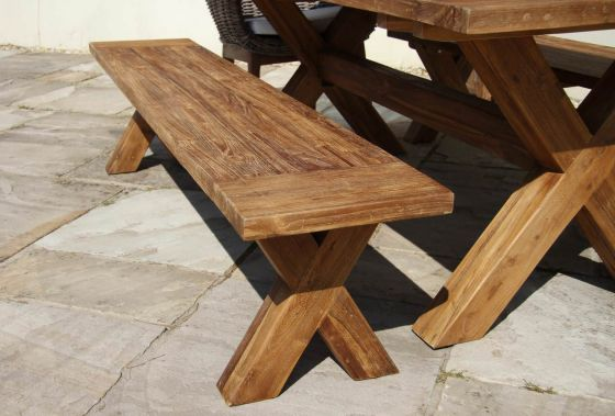 2m Reclaimed Teak Cross Leg Outdoor Dining Bench