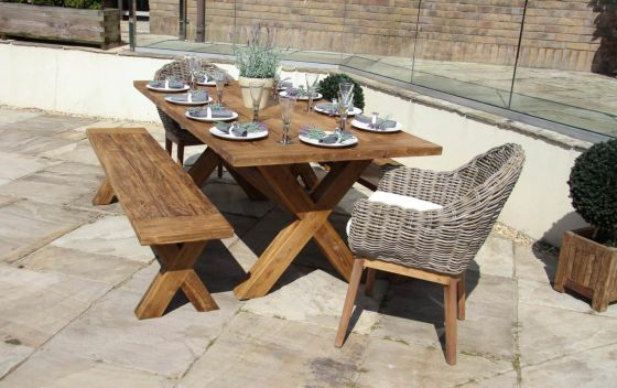 2m Reclaimed Teak Cross Leg Outdoor Dining Table with 2 Backless Benches and 2 Scandi Armchairs