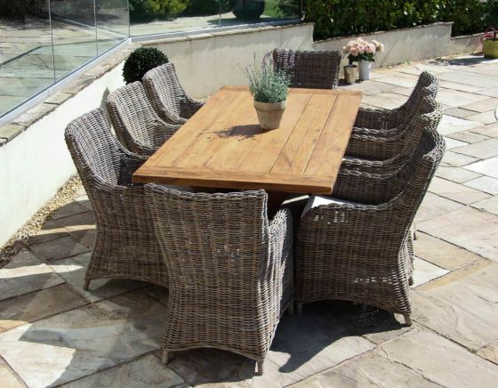 2m Reclaimed Teak Cross Leg Outdoor Dining Table with 8 Donna Armchairs