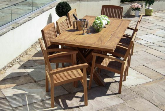 2m Reclaimed Teak Cross Leg Outdoor Dining Table with 8 Marley Armchairs