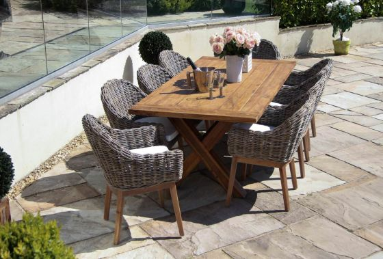 2m Reclaimed Teak Cross Leg Outdoor Dining Table with 8 Scandi Armchairs