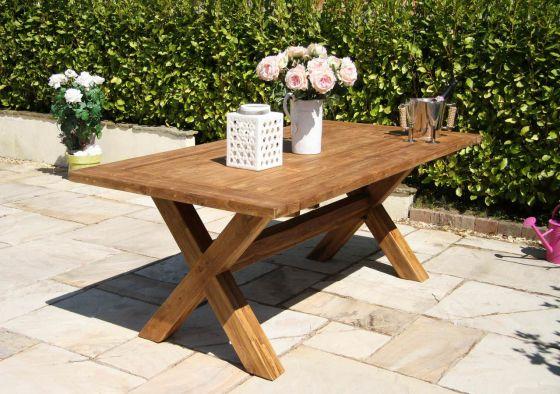 2m Reclaimed Teak Cross Leg Outdoor Dining Table