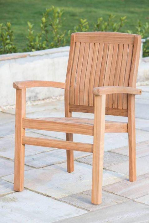 Solid Teak Stacking Garden Armchair