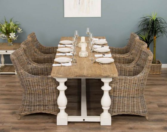 2.4m Reclaimed Pine Ellena Dining Table with 6 Donna Chairs