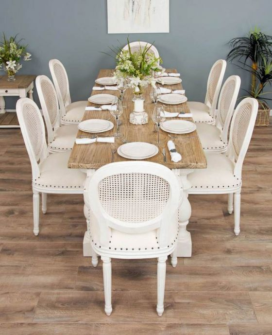 2.4m Reclaimed Pine Ellena Dining Table with 6 Ellena Chairs and 2 Armchairs