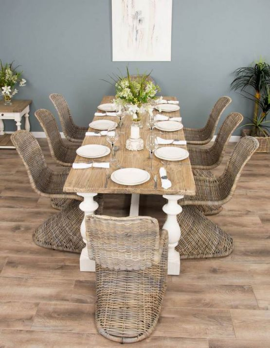2.4m Reclaimed Pine Ellena Dining Table with 8 Stackable Zorro Chairs