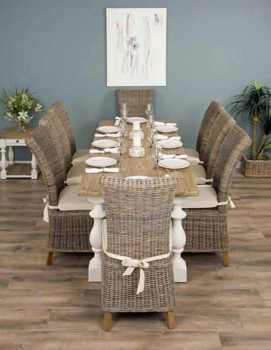 2.4m Reclaimed Pine Ellena Dining Table with 8 Latifa Chairs